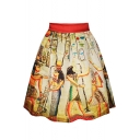 Vintage Egyptian Character Print A-Line Skirt
