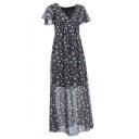Chiffon V-Neck Short Sleeve Floral Printed Color Block Maxi Dress