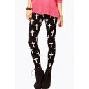 Slim Women's Cross Printed Color Block Skinny Fashion Leggings Pants