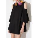 Women's Floral Print Collar Cold Shoulder 3/4 Sleeve Mini Swing Dress