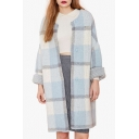 Plaid Color Block Single Breasted Long Sleeve Collarless Tunic Coat