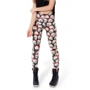 Women's Fashion Digital Skull Print Elastic Waist Basic Skinny Leggings