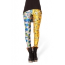 Women's Hot Fashion Color Block Digital Cartoon Print Basic Leggings