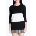 Women's Slim Striped Hem Patchwork 3/4 Length Sleeve Zip-Back Color Block Bodycon Dress