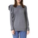 Fashionable Ruffle Long Sleeve Round Neck Plain Sweater