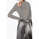 Striped Long Sleeve Half High Neck Color Block Pullover Sweater