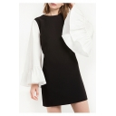 Women's Contrast Bell Long Sleeve Round Neck Color Block Mini Dress