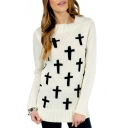 Fashion Contrast Crucifix Pattern Long Sleeve Round Neck Pullover Sweater