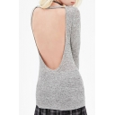 Sexy Cutout Back Long Sleeve Round Neck Plain Tunic T-Shirt