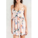 Summer Ruffle Front Floral Printed Spaghetti Straps Sleeveless Mini Dress