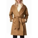 OL Lapel Open Front Belt Waist Long Sleeve Plain Tunic Coat