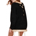 Women's Scoop Neck Long Sleeve Lace-Up Back Plain Sweater with Side Slit