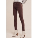Casual High Waist Button Fly Plain Skinny Pencil Pants