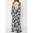 Sexy Open-Back Split Sides Floral Printed Color Block Maxi Dress