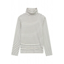 Women's Basic High Neck Long Sleeve Casual Striped Print Oversize Tee