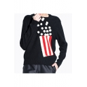 Women's Round Neck Long Sleeve Striped Pullover Sweater with Pom Pom