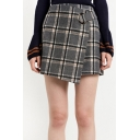 Fashion Color Block Plaid Asymmetric Hem Wrap Skirt with Metal Ring