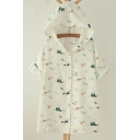 New Arrival Hooded Single Breasted Short Sleeve Cartoon Print Coat with Drawstring Waist