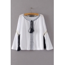 Drawstring V-Neck Cutout Bell Long Sleeve Pullover Blouse Top