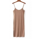 Women's Sexy Spaghetti Straps Knit Dress Fashion Slip Dress