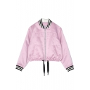 Stand-Up Collar Long Sleeve Striped Print Cuff Zip Placket Drawstring Waist Jacket