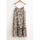 Floral Printed Spaghetti Straps Sleeveless Corduroy Midi Slip Dress