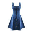 New Arrival Buttons Down Sleeveless Ruffle Trim Denim Mini Slip Dress