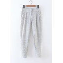 New Arrival Zip Pockets Pinstriped Print Casual Linen Pants