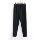 Elastic Waist Color Block Red Stripe Side Casual Loose Sports Pants