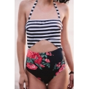 New Fashion Striped Floral Print Halter Neck Hollow Out One Piece Swimwear