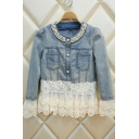 New Stylish Lace Patchwork Single Breasted Collarless Denim Jacket