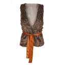 Fashion Belt Waist Sleeveless Plunge V-Neck Wrap Front Faux Fur Vest