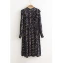 Floral Printed Ruffle Long Sleeve Elastic Waist Chiffon Maxi Dress