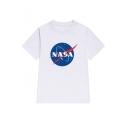 Loose NASA Logo Printed Short Sleeve Round Neck Tee Top