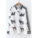 Striped Print Cute Dogs Print Lapel Collar Long Sleeve Single Breasted Shirt