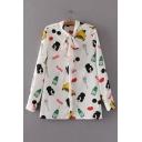 Bow Tie Collar Long Sleeve Funny Cartoon Print Buttons Down Shirt