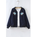 Stand-Up Collar Long Sleeve Polka Dot Print Floral Embroidered Zip Placket Baseball Jacket