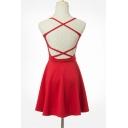 Sexy Crisscross Back Belt Waist Sleeveless Plain Mini Bandage Dress