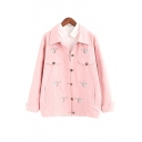 Casual Fox Embroidered Lapel Collar Long Sleeve Single Breasted Coat with Double Pockets