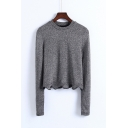 New Fashion Round Neck Long Sleeve Wave Trim Metal Silk Pullover Sweater