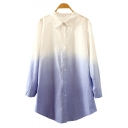 New Stylish Ombre Color Block Single Breasted Lapel Tunic Shirt