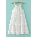Summer Ruffle Layered Spaghetti Straps Sleeveless Plain Cami Dress