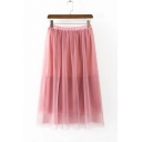 Women's Elastic Waist Gauze Patched Summer Maxi Plain Skirt