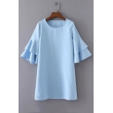 Basic Solid Color Round Neck Half Sleeve Ruffle Layered Sleeve Swing Dress