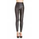 Sexy High Waist Plain PU Skinny Pants