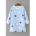 Cute Contrast Beatles Printed Polka Dots Long Sleeve Round Neck Mini Dress
