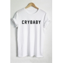 Simple CRYBABY Letter Printed Round Neck Short Sleeve Tee
