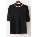 Spring New Arrival Round Neck Short Sleeve Striped Color Block Knit Sweater