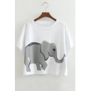 Women's Batwing Short Sleeve Elephant Printed Round Neck Cropped Tee