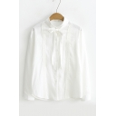 Bow Tie Collar Long Sleeve Plain White Linen Buttons Down Shirt